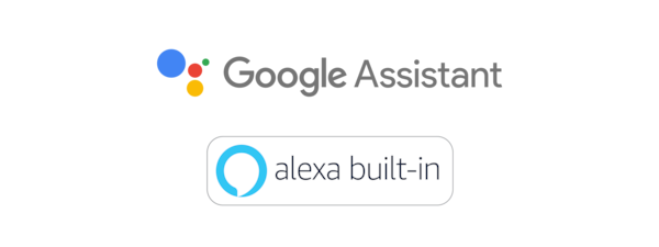 Logotipi za Google pomoćnik i Amazon Alexa.
